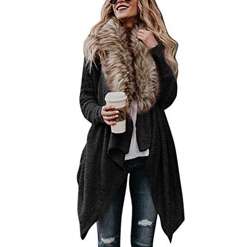 Petalum Damen Mantel Herbst Winter Cardigan Lang V Ausschnitt Fledermausärmel Strickjacke mit Kunstfell Pelzkragen Warm Coat Outerwear