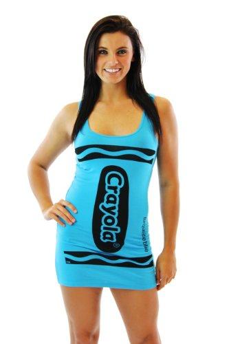 Crayola Crayon Turquoise Blue Juniors Costume Tunic Tank Dress (Juniors Small)