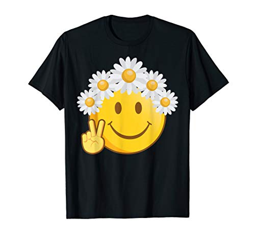 ❤ Peace Liebe Hippie Flower Power Smiley Emoji T-Shirt