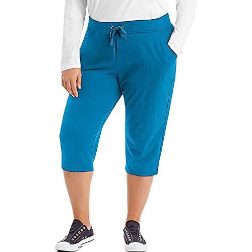 Womens Plus Size Capri Pants,Casual Pocket Drawstring Elastic Waist Yoga Pants Summer Loose Athletic Workout Crop Pants