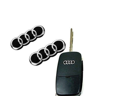 2 Stück 15x5mm Aufkleber Emblem Logo Schlüssel Fernbedienung Set Satz Auto A2 A3 A4 A5 A6 A8 TT Q3 Q5 Q7 S3 S4 S5 S6 S8 SQ5 RS3 RS4 RS5 RS6 RS8 4F 8P 8E S-Line