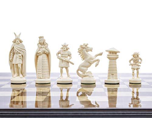 Juego de ajedrez de plástico Viking de 3 3/4 Pulgadas, Color Blanco y Negro, tamaño estándar