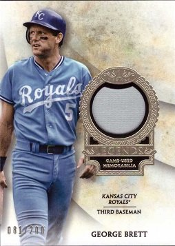 2017 Topps Tier One Relics Legends #T1RL-GB George Brett Game Worn Kansas City Royals Jersey Baseball Card - Only 200 made!
