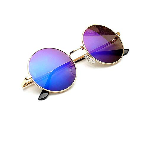 KATCOCO John Lennon 60's Hippie Circle Sunglasses WITH CASE Punk Round Retro Colored (Mirrored Purple)