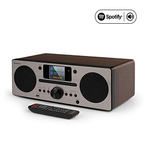 "auna Harvard IR Kompaktanlage, Internetradio, Bluetooth, USB, DAB+, CD-Player, UKW-Tuner, Retro-Design, WLAN, Spotify Connect, 2,4"" HCC Display, UNDOK-App, walnuss"