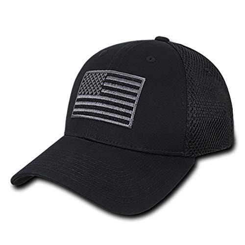 Black USA US American Flag Tactical Operator Mesh Flex...