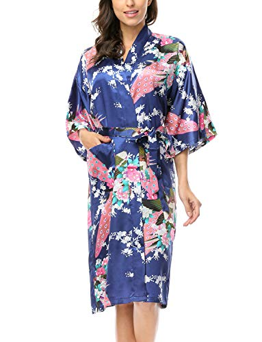 CHENXI Womens Silk Satin Bathrobe Peacock Blossom Kimono Robes, Navy Blue L
