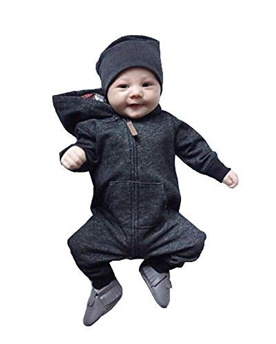 Keephen Kleinkind-Baby-Overall-Kleidung-Jungen-Mädchen-Frontreißverschluss-Taschen Hoodie-Spielanzug