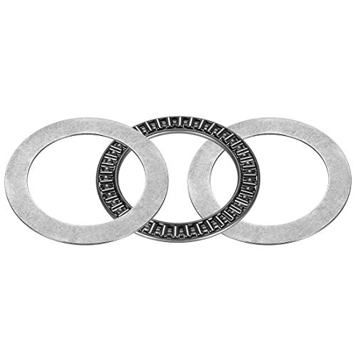 uxcell AXK5070 Needle Roller Thrust Bearings with 2 Washers, 50mm Inner Diameter, 70mm OD 3mm Width Chrome Steel