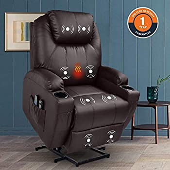 Magic Union Power Lift Chair Electric Recliner Faux Leather Heated Vibration Massage Sofa with Remote Controls Side Pockets for Elderly Catnap  Brown
