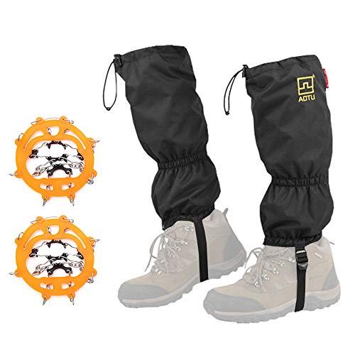 Polainas Crampones Set Impermeable Snow Leg Guard Crampón Inoxidable Antideslizante con Ocho Puntas para Actividades de Hielo en la Nieve