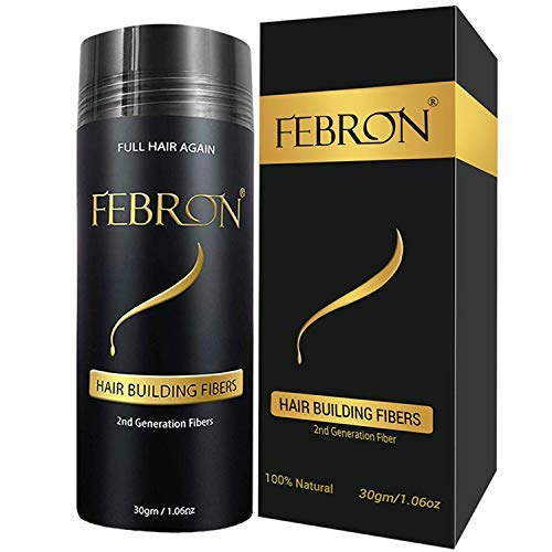 FEBRON Hair Fibers For Thinning Hair MEDIUM BROWN Giant 30G For Women & Men Hair Loss Concealer Hair Powder Volumizing Based 100% Undetectable & Natural - Bold Spots Filler