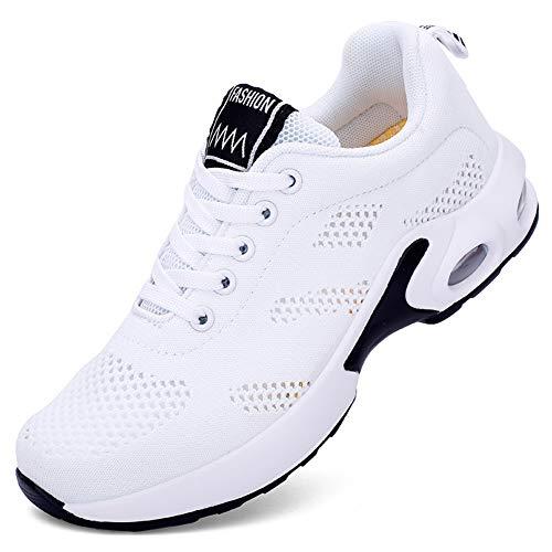 AARDIMI Damen Sneaker Mesh Atmungsaktiv Laufschuhe Turnschuhe Leichte Laufschuhe Gym Sportshuhe (Mesh-weiß, Numeric_37)