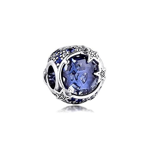 QIAMUCJC Plata de Ley 925 Se Adapta a la Pulsera Pandora Original Charm Celestial Blue Sparkling Stars Beads DIY Fabricación de Joyas BerloqueTrinkets