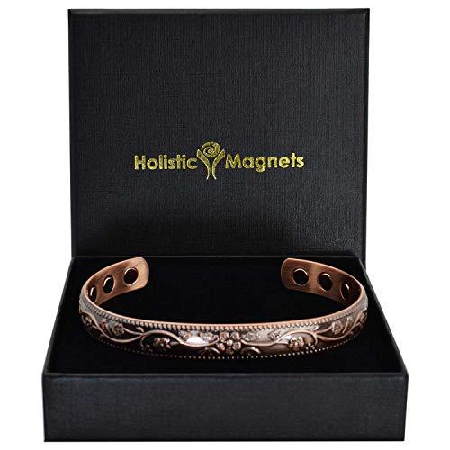 Holistic Magnets® Kupfer Armband Damen Magnetarmband reinem Kupfer Geschenkideen Magnet Armbänder für Arthritis Tendinitis Handgelenk Gelenkheilung +Geschenkbox–FC (M: Handgelenk 15-18,5cm)
