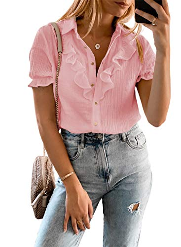 Aleumdr Women's Casual V Neck Tops Summer Ruffle Short Sleeve Ruched Pleated Blouses Button Down Shirts Pink Medium 8 10