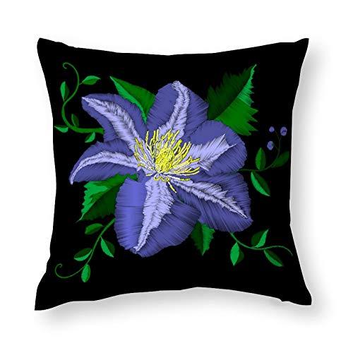 Funda de almohada decorativa con diseño de flor azul bordado, 45 x 45 cm