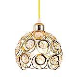 Lámpara colgante de cristal Lámpara colgante de metal Lámpara de araña de cristal moderna Pantalla de pasillo Lámpara de techo para cocina Isla Mesa de comedor Barra de dormitorio, Base E26, Dorado