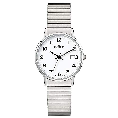 DUGENA Damen-Armbanduhr 4460752 Moma Comfort, Quarz, weißes Zifferblatt, Edelstahlgehäuse, Mineralglas, Edelstahl-Zugband, 3 bar