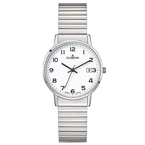 Dugena Damen Quarz-Armbanduhr, Elastisches Zugband, Gehärtetes Mineralglas, Moma Comfort, Silber/Weiß, 4460752
