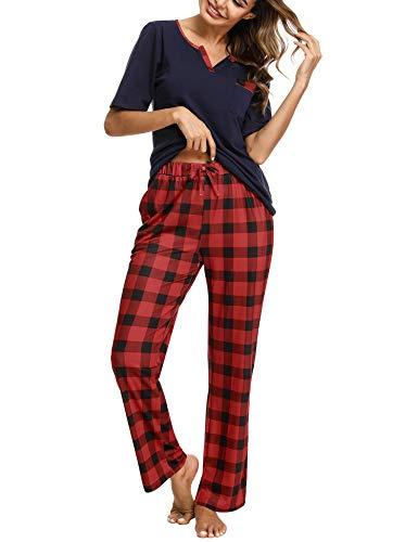 Doaraha Pijama a Cuadros para Mujer Camiseta y Pantalones Pijamas Manga Larga Celosía Ropa de Dormir de Algodón Manga Corta con Bolsillo Cuello de Muesca 2 Piezas (A#1 Azul (pantalón Largo), 2XL)