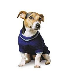 blue dog jumpers Ancol Cable Knit Dog Sweater in navy Blue