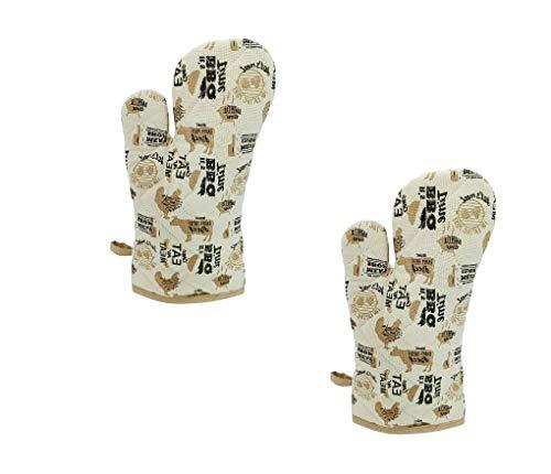 KUTEX Juego de 2 guantes de horno de cocina, guantes de horno microondas, antideslizantes, resistentes al calor, guantes de cocina de algodón para barbacoa, barbacoa, parrilla, cocina (Beige BBQ)