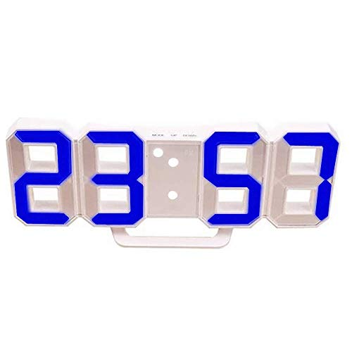 DIYARTS LED Digital Alarm Clock Fashion Smart Wall Clock Can Adjust The LED Brightness Automatically In Night for Bed Room and Kids Desk Clock (White - blue)