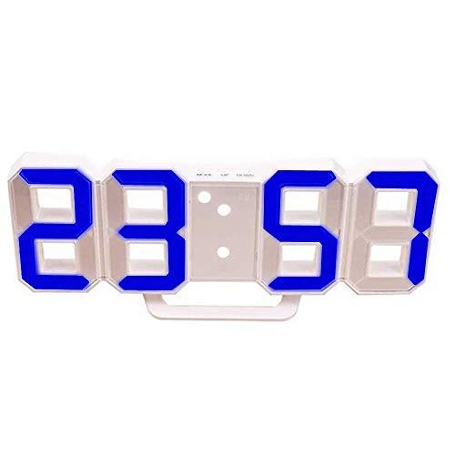 DIYARTS Reloj Despertador Digital LED Reloj de Pared Inteligente de Moda Puede Ajustar Automáticamente Brillo LED Noche para El Dormitorio (White - Blue)