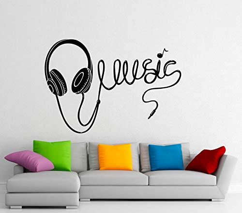 Calcomanía de vinilo para pared de auriculares con música, pegatina de vinilo con nota musical, diseño artístico para el interior del hogar, Mural, decoración de la pared del dormitorio, 61x42