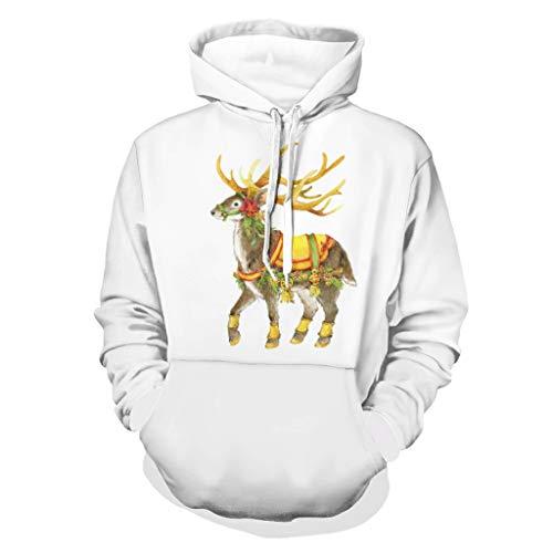 Niersensea Large Children's Hoodie Sweatshirts Christmas Animal Deer Print Pullover Sport Hoodie Hooded Sweatshirt White S