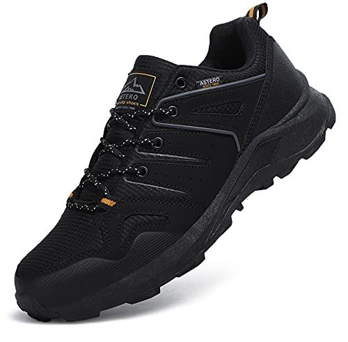 ASTERO Zapatillas Running Hombre Zapatos para Deportes Montañao Ligero Sneakers Casual Gimnasi Outdoor Trekking Transpirables Correr Talla 41-46(Negro, Numeric_45)