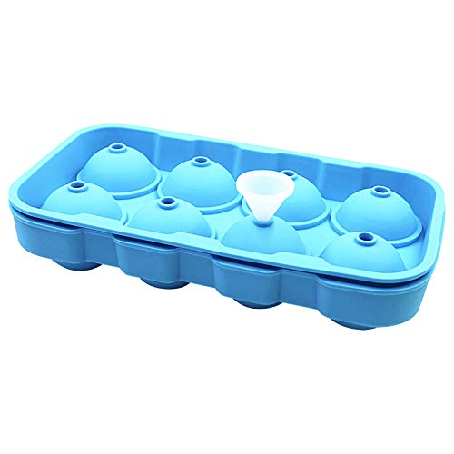 8 Ice Ball Molds, Slicone Ice Tray Molds, Whiskey Silicone Ice Making Molds, Ice Ball Maker Round Ice Mold with Funnel and Lid, Easy-Release, No Leakage, for Cocktail, Juice, Party
