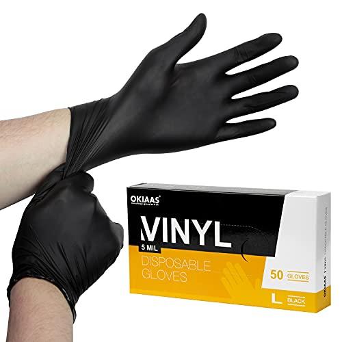 OKIAAS Einweghandschuhe Schwarz L, Vinyl Einmalhandschuhe Puderfrei, 5 mil, 50 Stück Tattohandschuhe Latexfrei Handschuhe Einweg für Kochen, Grill, Putzen