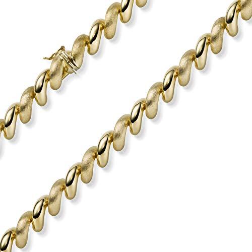 10mm Collier Spiral-Kette aus 585 Gold Gelbgold Halsschmuck teilmattiert 50cm