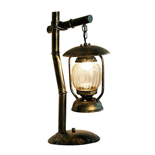 Caisedemeng Lámparas de escritorio Decoración del Hierro de la vendimia lámpara de mesa, lámpara de mesa ático País retro, decorativo de noche Mesita de luz de la lámpara, se puede utilizar de interio