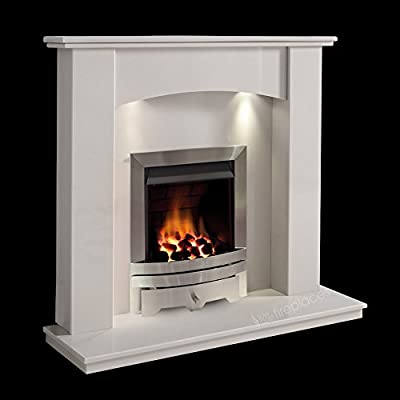 White Marble Stone Modern Curved Wall Surround Gas Fireplace Suite Silver Inset Gas Fire with Spotlights
