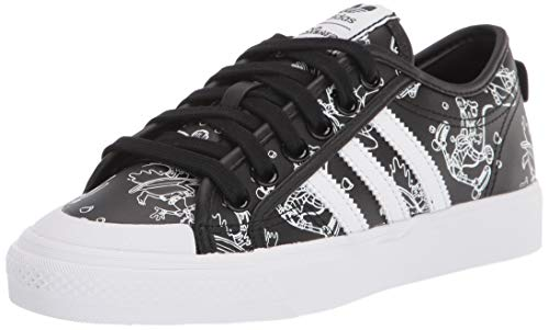 adidas Originals Men's Nizza X Disney Sport Goofy Sneaker, Black/White/White, 4 ✅