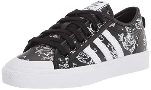 adidas Originals Men's Nizza X Disney Sport Goofy Sneaker, Black/White/White , 4.5 medium US