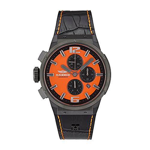 HÆMMER Gutsy EG-002 - Reloj de pulsera analógico de cuarzo para mujer, con cristal de zafiro resistente a los arañazos (48 mm de diámetro), color negro y naranja