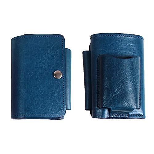 MDX YD1 スマートキーケース コインケース 三つ折り ミニ財布 本革 イタリアンレザー製 ブルー 汎用