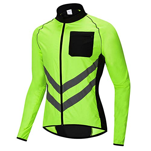 Mens Waterproof Cycling Jacket, Windproof Breathable Reflective Windbreaker Running Jacket, Long Sleeve Softshell Cycling Jersey Bicycle Clothes, for Running, Cycling and Outdoor-Green M