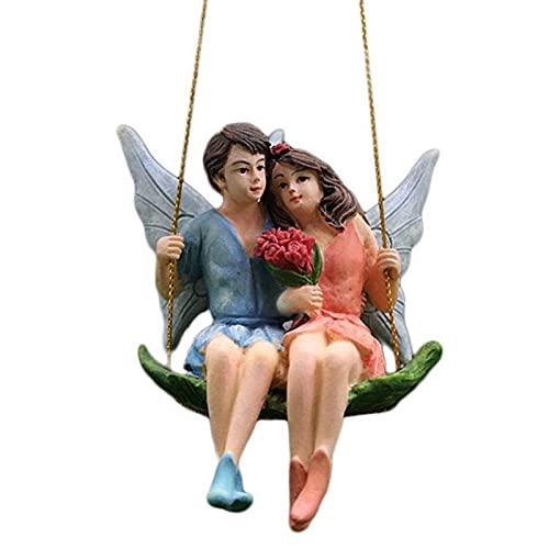 crazerop Swing Paar Blume Feen Feengarten Miniature Statue Zum Aufhängen, Mini Gartenzwerge Fairy Garten Gartenzwerg Figuren Gartendeko Wetterfest Lustig Für DIY