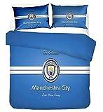 Manchester United Azul Juego de Funda Nórdica con Cierre de Cremallera 200x200 cm Juego de 3 Piezas de Ropa de Cama,1 Funda Nórdica de Microfibra con 2 Fundas de Almohada 50x75 cm