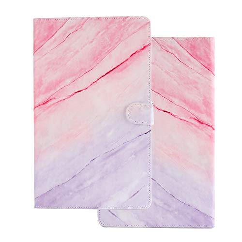 Funda para Universal 10 Pulgadas 10.1 9.6 9.7 10.2 10.5 Carcasa de Cuero Silicona Tablet PC Smart Cover Case con Tapa Piel Tarjetero - Mármol Azul Rojo