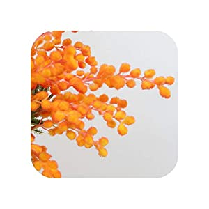 F-pump 42Cm Fake Orange Mimosa Flower Branch Artificial Palm Flower Plastic Autumn Floral Material Acacia Plant Home Halloween Decor