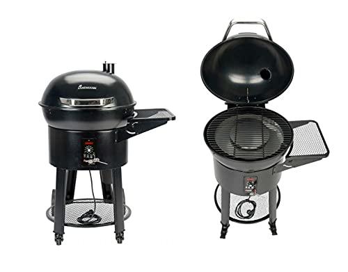 LANDMANN Pelletgrill | geeignet zum (indirekten) Grillen, Räuchern und American BBQ | Extra großer Fettauffangbehälter | Integriertes Kernthemperaturthermometer [schwarz]