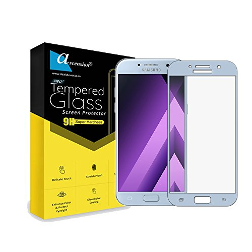 Ascension ® White Border Tempered Gorilla Screen Protector High Premium Quality 9h Hard 2.5D ultra clear for Samsung Galaxy A520 A5 (2017) (Set of 2)