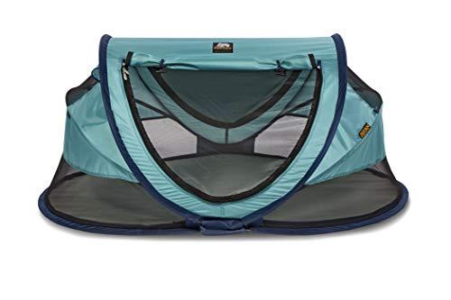 Deryan Reisebett/Travel-cot Peuter Reisebettzelt inklusive Zelt + selbstaufblasende Matratze + Baumwollbezug mit Reißverschluss mit Pop-Up innerhalb 2 Sekunden aufgebaut, ocean/blue