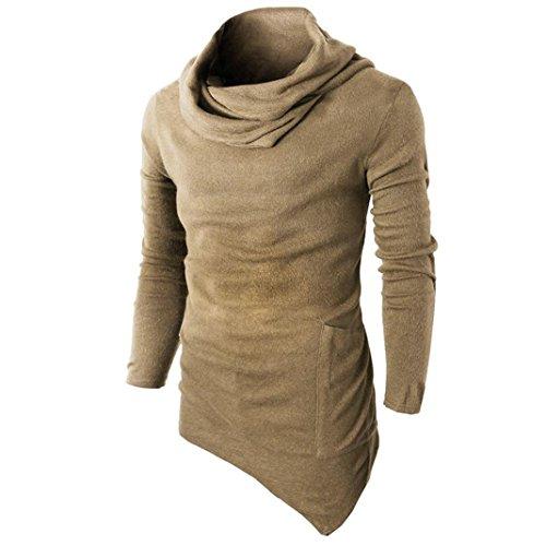 YunYoud Männer Slim Fit Tuetleneck Tops Lange Ärmel Muskel Hemd Herren Einfarbig Patchwork Blusen Mode Beiläufig T-Shirt Irregulär Pullover Sweatshirt (M, Gelb)